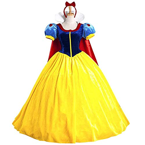 KUFV Women's Princess Costume Dress Snow White Princess Costume with Headband ()