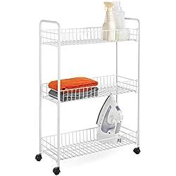 Honey-Can-Do CRT-01149 3-Tier Laundry Cart, White
