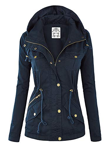 Lock and Love WJC643 Womens Pop of Color Parka Jacket XL Navy