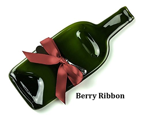 - Melted Recycled Wine Bottle Cheese Tray with Cheese Spreader and Berry Ribbon, Housewarming Hostess Gift for Her or Him, Unique Serving Tray for Wine Lover