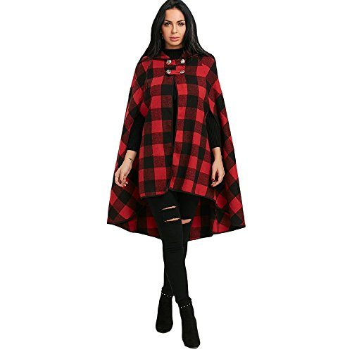 Plaid Hooded Coat (Xaviness Plaid Hooded Cape Coat With Batwing Sleeve (M))