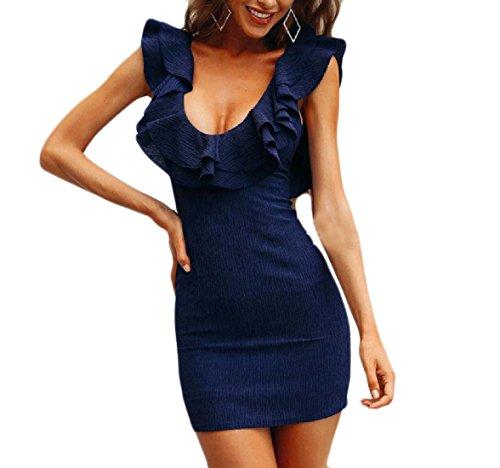 Arredata Sottile Increspato Pattern1 Da Indietro V donne Senza A Sexy Vestito Maniche Coolred Partito Scollo Aperto fpn5xFT