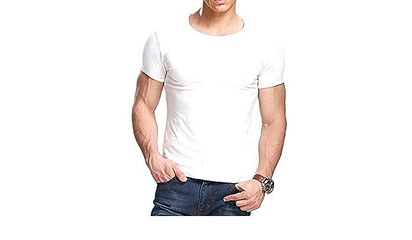 Camiseta negra ajustada de manga cortada con cuello redondo para hombre, de Butterme hombre Modal , blanco