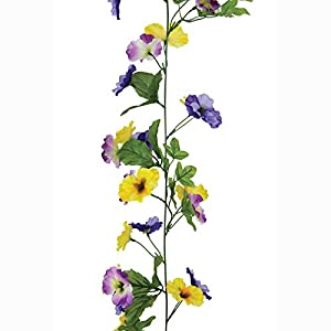 FloristryWarehouse Artificial Pansy Garland Purple and Yellow 6ft 102