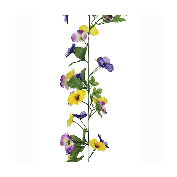 FloristryWarehouse Artificial Pansy Garland Purple and Yellow 6ft