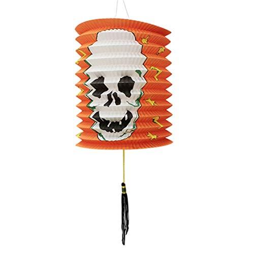 DOSOMI Halloween Party Decor Paper Pumpkin Bat Skeleton Hanging Lantern Light Lamp]()