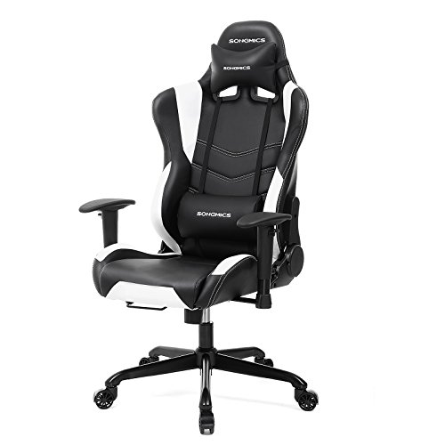 SONGMICS Racing Sport Chair Gaming Chair High-back Computer Chair with the Headrest and Lumbar Support Black+White URCG12W