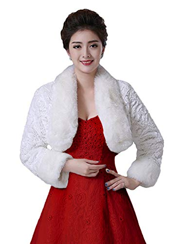 Oncefirst Women's Winter Faux Fur Wedding Jacket Bride Wrap Shawl Bolero Jacket