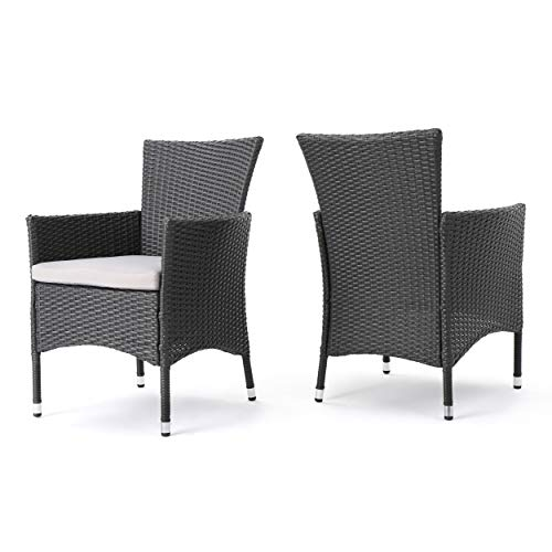Great Deal Furniture 346205 Clementine Outdoor Wicker Dining Chairs Set of 2 , Grey