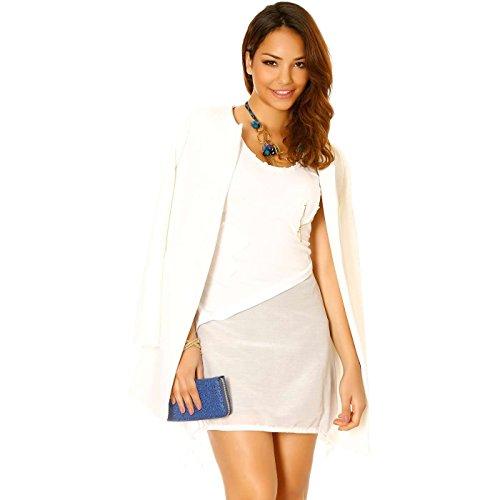 Miss Wear Line - Tunique bi-matière blanche en soie avec lacets sur le côté