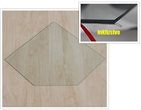 Fü nfeck 100x100cm - Funkenschutzplatte Kaminbodenplatte Glasplatte f. Kamin Ofen Kaminofenunterlage (Fü nfeck 100x100cm mit Silikon-Dichtung) ecofoxx
