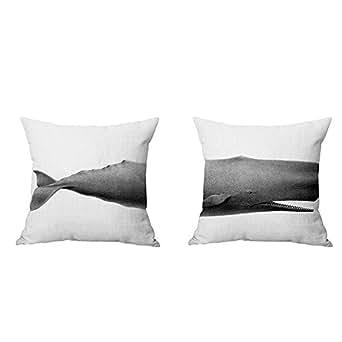 2Pcs Simple Cotton Linen Square Throw Flax Animal Creative Pillowcase