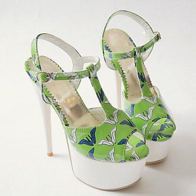 LvYuan Mujer-Tacón Stiletto Plataforma-Plataforma Confort-Sandalias-Vestido Informal Fiesta y Noche-PU-Negro Amarillo Blanco Green
