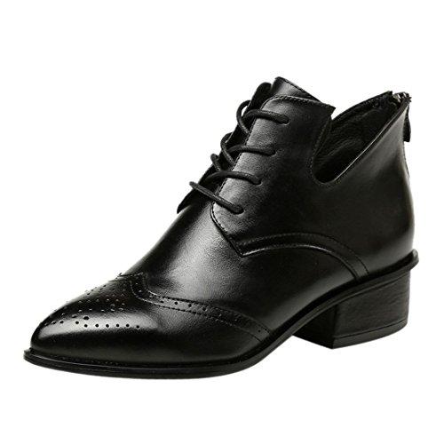 mit Absatz Riding Schwarz neue Frauen Martin Boots niedrigem Leather Wohnung Winter Ankle Schnuerschuhe Uqa88w