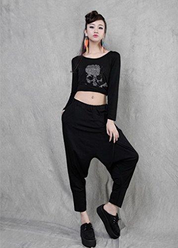 Para mujer harén pantalones Aladdin pantalones mujer pantalones Black 3