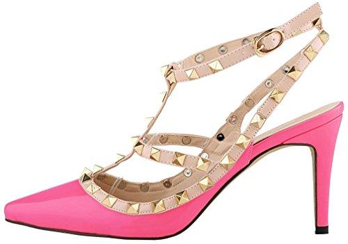 Calaier Mujer Casnowman Tacón De Aguja 8CM Sintético Hebilla Sandalias de vestir Zapatos Rosa B