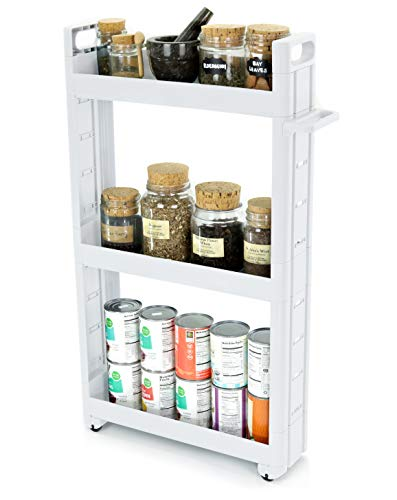 (Adorn Home Essentials 3-Tier Narrow, Storage cart Pull-Out, Slide - Out Mobile Commodity Shelf, Rack Organizer Unit on Wheels | Plastic | White)