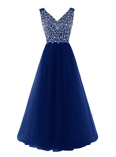Tideclothes Long V Neck Prom Dress Exquisite Beading Evening Dress Royal Blue US8 (Big Poofy Dresses)