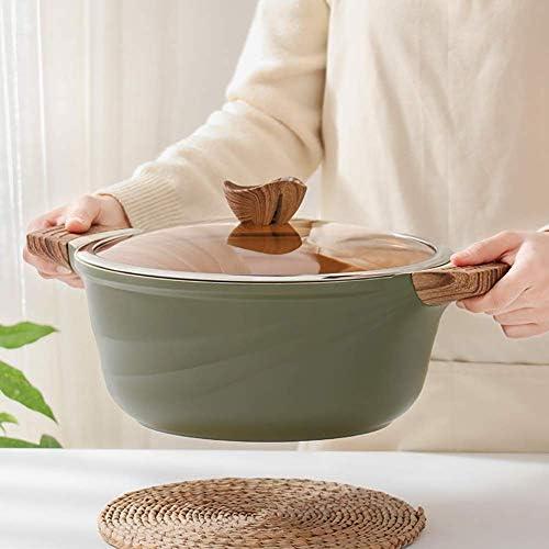 AGGF Marmite antiadhésive avec Couvercle en Verre, Casserole Japonaise Ronde résistante à la Chaleur Cocotte Polyvalente Verte 7.4Quart