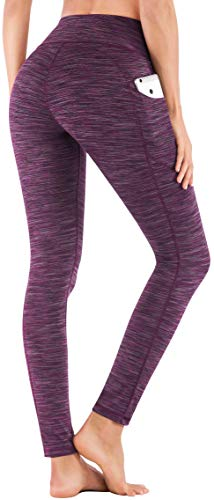 IUGA High Waist Yoga Pants with Pockets, Tummy Control, Workout Pants for Women 4 Way Stretch Yoga Leggings with Pockets (Space Dye Purple, Medium)
