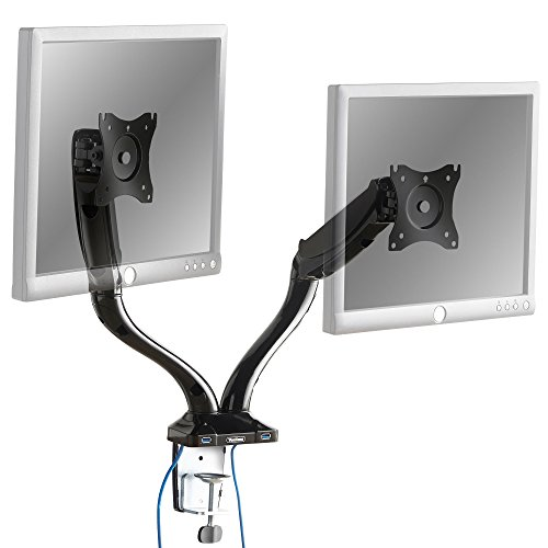 "VonHaus Premium Gas Spring Dual Articulating Monitor Arms With 2 USB Ports - Desk Clamp Mount Bracket for 13-27"" Screens: 360° Rotation, ±90° tilt up/down/left/right & 180° Swivel Arm"