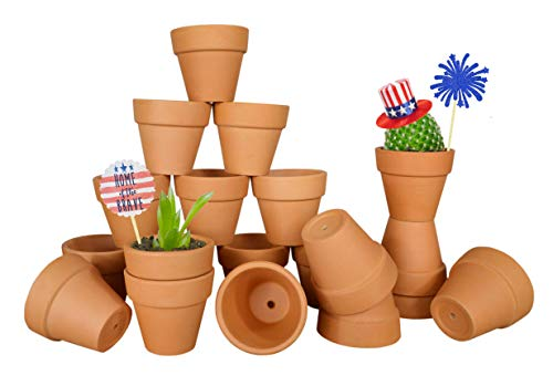 (My Urban Crafts 20 Pcs Small Mini Clay Pots 2.1 inch Mini Terracotta Pots Clay Ceramic Pottery Planter Cactus Flower Pots Succulent Nursery Pot Great for Indoor/Outdoor Plants, Crafts, Wedding)
