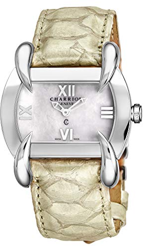 Charriol Kucha Womens Shell Leather Band Watch - Mother of Pearl Face with Sapphire Crystal and Unique Claw Design Lugs - Stainless Steel Swiss Made Classic Ladies Tonneau Watch KUCHTL.490.KTL004 ()
