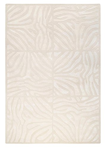 CC Home Furnishings 5' x 8' Burchelli Zebra Chain Parchment Wool Area Throw Rug