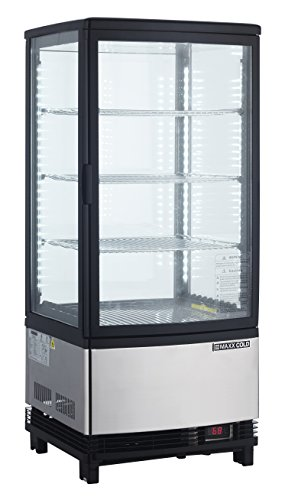 Door Display Fridge (Maxx Cold MECR-32D 3 cu. ft. Pass Through 2 Door LED Lighted Countertop Display Refrigerator Merchandiser)