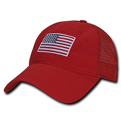 Soft Fit American Flag Embroidered Cotton Trucker Mesh Back Cap - ()