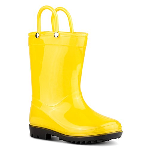 ZOOGS Children's Rain Boots with Handles, Little Kids & Toddlers, Boys & Girls, Yellow, 11 Little Kid