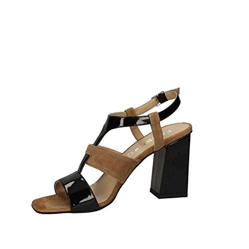 LE521 MULTI NERO Scarpa donna sandalo tacco Cafènoir pelle