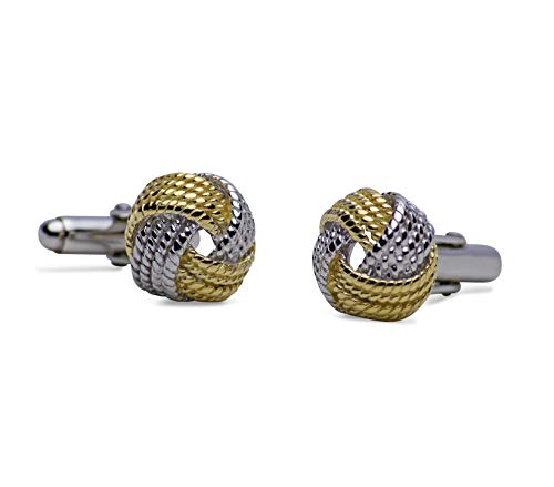 Love Knot Cufflinks in 14K Yellow Gold & Rhodium Plating Over Sterling Silver