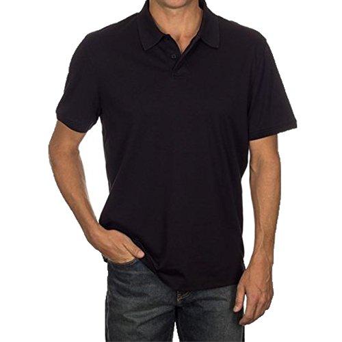 Calvin Klein Men's Lifestyle Soft Liquid Cotton Polo Shirt, Black, (Calvin Collar)