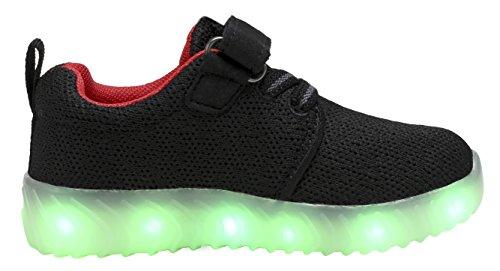 COODO LED leuchten Schuhe für Frauen Kinder Mädchen blinkende Glitter Turnschuhe (Kleinkind / Kind / Frauen) 2-schwarz / rot