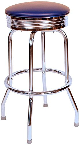 Richardson Seating 0-19715BLU 1950S Chrome Swivel bar Stool with Seat Metal, 30