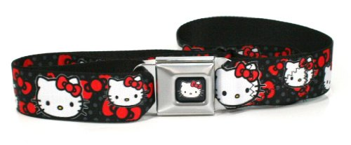 Hello Kitty Face Red Bows On Black Seatbelt Belt (for your pants) (Seat Belt Metal Buckle)