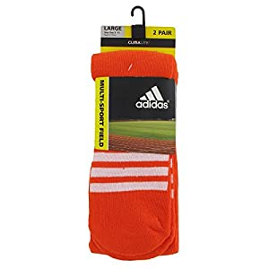 adidas Unisex Rivalry Field 2-Pack Otc sock, Team Orange/White, Large
