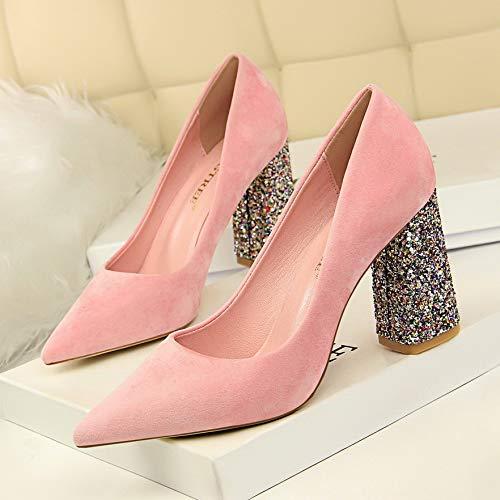 De Novia con Rojo Alto Baja Negros Tacones Zapatos tacón alto Salvaje zapatos Boca Primavera de Rojo Y Pink 39 Gruesos Yukun Otoño Mujer qUf7a11w