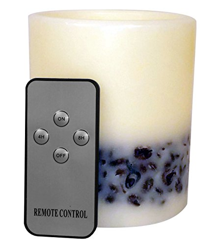 Genuine Wax & Coffee Bean Flameless LED Candle - Auto Timer & Remote Control - Battery Operated - Coffee (Led Lighting Company)