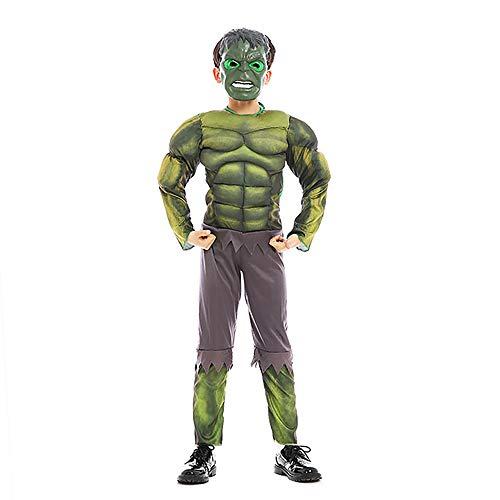 NikoNi Boys Deluxe Hulk Child's Costume Kids Cosplay Spandex Bodysuit 3D Costume Halloween Green -
