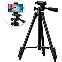 JYC 3120 3-Dimensional Head Foldable Camera Tripod Stand with Mobile Clip Holder Bracket for Tiktok Video