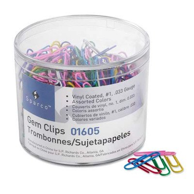 Gem Clips, Vinyl Coated, Jumbo, No. 2, 200/Box, (Sparco Products Sparco Vinyl)