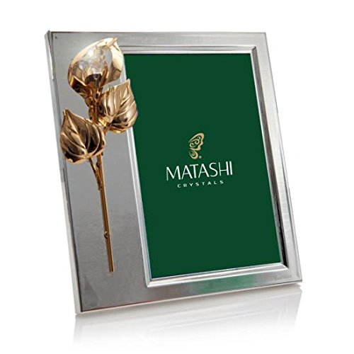 Calla Flower Teardrop Ornament Picture Frame Made with Genuine Matashi Crystals ()