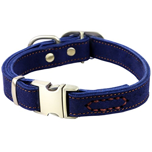 Blue Leather Dog Collar - chede Luxury Real Leather Dog Collar- Handmade For Medium Dog Breeds With The Finest Genuine Leather-Best Quality Collar That Is Stylish,Soft Strong And Comfortable-Blue Dog Collar