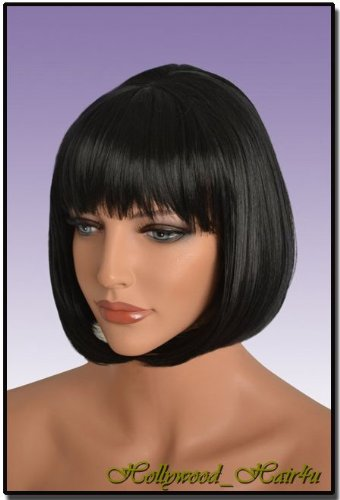 Amazon.com : Hollywood_Hair4u - #1B Jet Black Wig with Bangs Kanekalon Heat Resistant Synthetic Fiber Skin Top *NEW* : Hair Replacement Wigs : Beauty