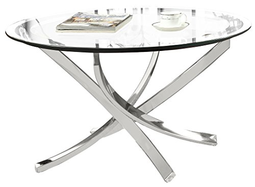 Price comparison product image Made of Glass and Metal Round Table Charming and Modern With Silver Finish Coffee Table Add This To Your Home and Impress Everyone