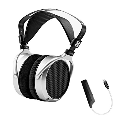 Hifiman HE400S Full-Size Planar Headphone PLUS Blucoil AQUA Portable In-Line DAC and Amplifier - iPhone Lightning Adapter by blucoil