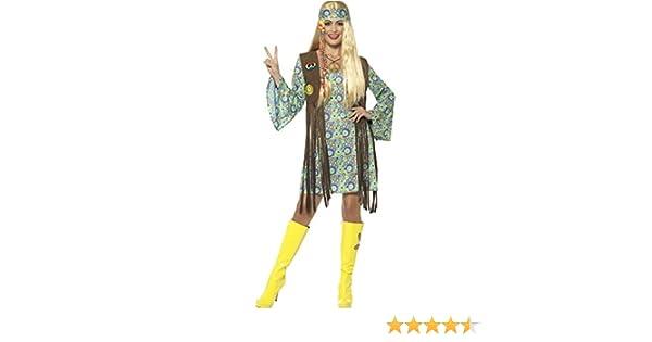 NET TOYS Vestido Hippie Mujer - XL (ES 48/50)   Disfraz Años 60 ...