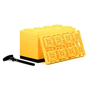 Camco FasTen 4×2 Leveling Block For Dual Tires, Interlocking Design Allows Stacking To Desired Height, Includes Secure T-Handle Carrying System, Yellow (Pack of 10) (44515)